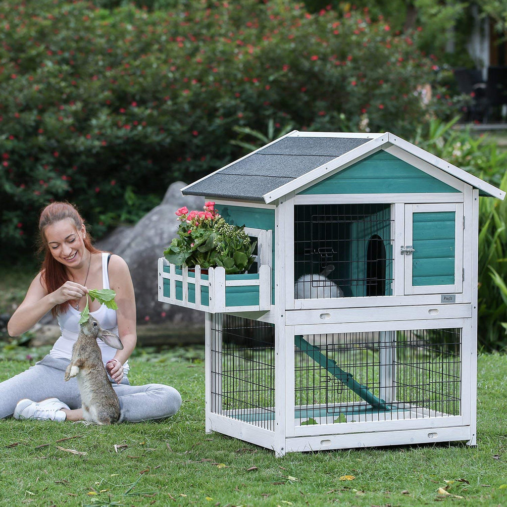 "Petsfit Bunny Cages,Outdoor Rabbit Hutch with Run 31.5"" x 26"" x 46"" by Petsfit"