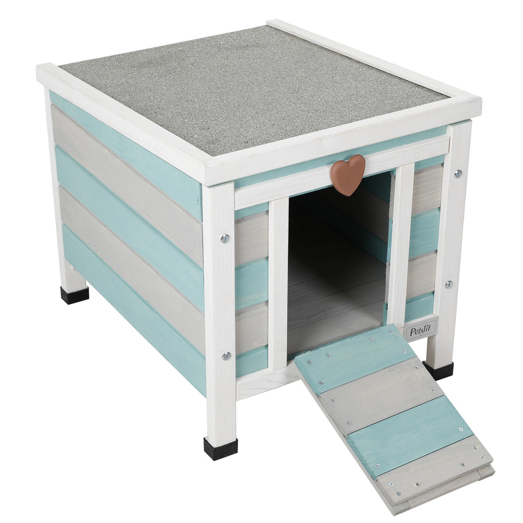 Petsfit Cat/ Rabbit /Small dog Wooden House Green and White
