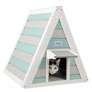 Petsfit Grey and Green with Eave Wooden Triangle Cat House