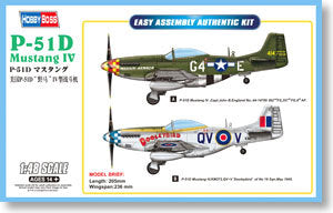 "Hobby Boss 1/72 scale aircraft models 85802 P-51D ""wild horse & rdquo; / Mustang Mk.IV fighter"