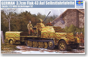 Trumpeter 1/35 scale model 01527 Sd.Kfz7 / 2 Flak 43 for air chariot trailer *