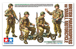 TAMIYA 1/35 scale models 35337 British paratrooper and drop folding motorcycle