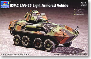 Trumpeter 1/72 scale model 07268 US Marine Corps LAV-25 8X8 wheeled armored vehicles