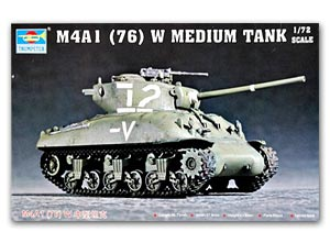 Trumpeter 1/72 scale model 07222 M4A1 (76) W Sherman medium chariot