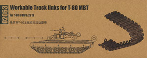 Trumpeter 1/35 scale model 02063 Russian T-80 series main battle tank with movable link track