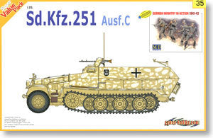 1/35 scale model Dragon 9135 Sd.Kfz.251 / 1 Ausf.C semi-crawler armored vehicles and soldiers