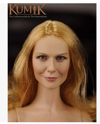 KNL HOBBY KUMIK 16-10 1/6 female head sculpt gold hair smile smiling beautiful head sculpt spot for action figures