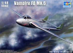 Trumpeter 1/48 scale model 02874 de Havillon Vampire FB.5 Fighter Bombera