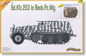 1/35 scale model Dragon 9128 Sd.Kfz.253 semi-track armored command vehicle and commander group