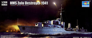 "Trumpeter 1/350 scale model British royal navy tribal HMS ""Zulu"" destroyer 1941"