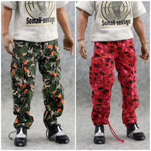 Out of stock spot 1/6 soldiers pants trend green red flower pants tide camouflage pants 6 points baby available Action Figures