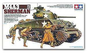 "TAMIYA 1/35 scale models 35250 M4A3 (75mm) ""Sherman"" chariot late type"