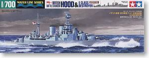 TAMIYA, 1/700, scale, model 31806, British Royal Navy hood, Corvette, and class E destroyer