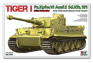 "Rye Field 1/35 scale model RM5001 No.6 heavy combat vehicle tiger pre stage ""Tunisia 1943"""