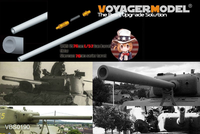 Voyager model metal etching sheet VBS0190 World War II American Chariots 76mm L/52 Artillery Upgrade Metal Cannon and Antenna Block