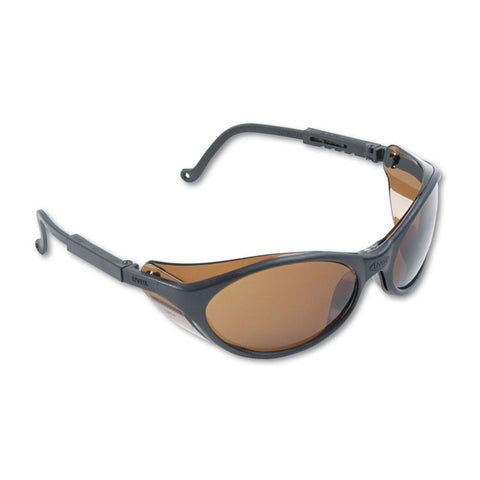 Bandit Wraparound Safety Glasses, Black Nylon Frame, Espresso Lens