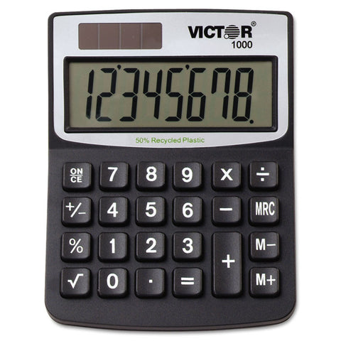 1000 Minidesk Calculator, Solar/battery, 8-Digit Lcd