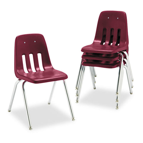"9000 Series Classroom Chair, 18"" Seat Height, Wine/chrome, 4/carton"