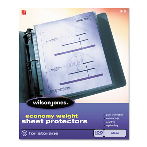 Economy Weight Top-Loading Sheet Protectors, Letter, 100/box
