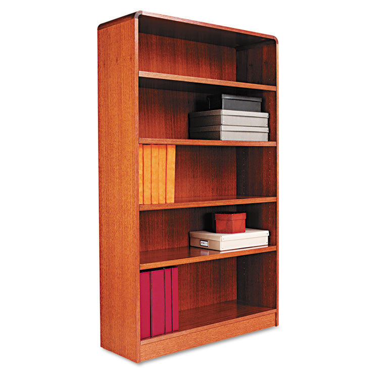 Radius Corner Wood Veneer Bookcase, Five-Shelf, 35-5/8 X 11-3/4 X 60, Medium Oak