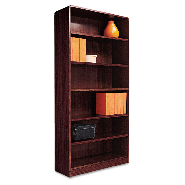 Radius Corner Wood Veneer Bookcase, Six-Shelf, 35-5/8w X 11-3/4d X 72h, Mahogany