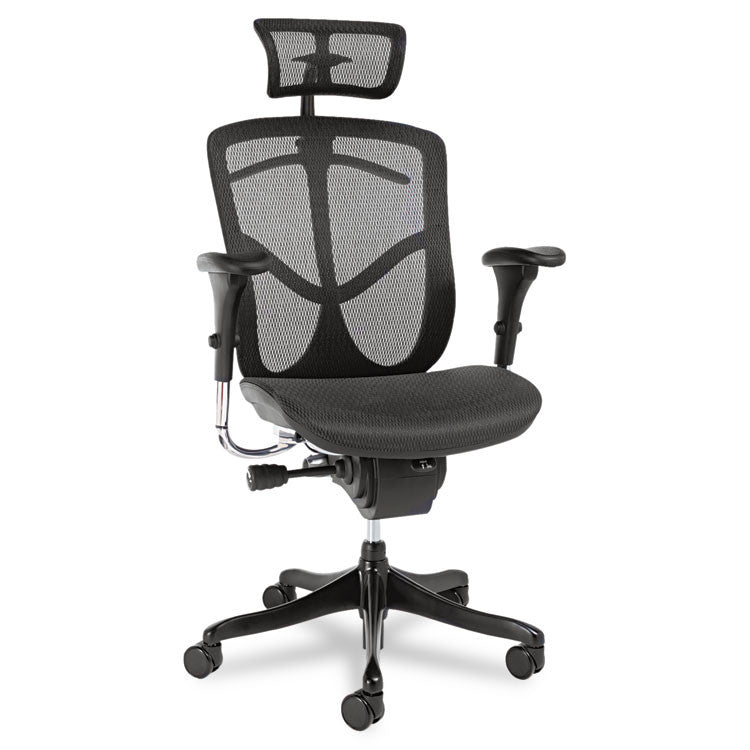Alera Eq Series Ergonomic Multifunction High-Back Mesh Chair, Black Base