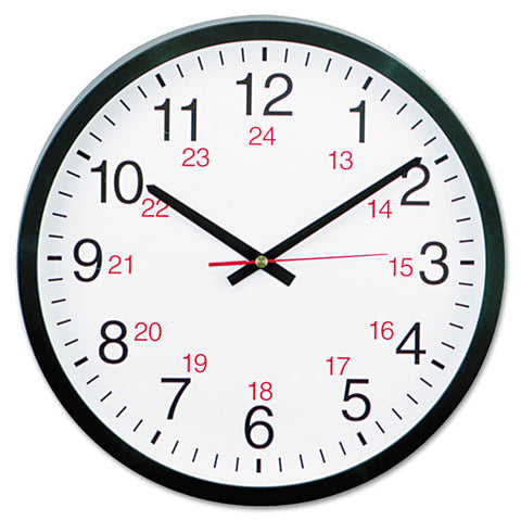 "24-Hour Round Wall Clock, 12 5/8"", Black"