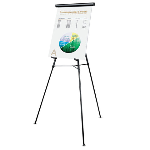"3-Leg Telescoping Easel With Pad Retainer, Adjusts 34"" To 64"", Aluminum, Black"