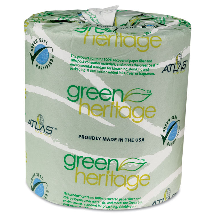 GREEN HERITAGE PROFESSIONAL TOILET TISSUE, 4.4 X 3.5, 2-PLY, 500/RL, 96 ROLLS/CT