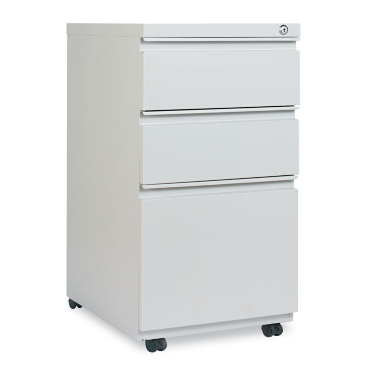 Three-Drawer Pedestal File With Full-Length Pull, 14 7/8 X 19 1/8, Light Gray