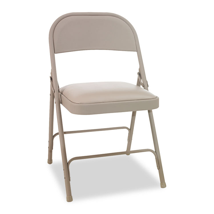 Steel Folding Chair With Two-Brace Support, Padded Seat, Tan, 4/carton