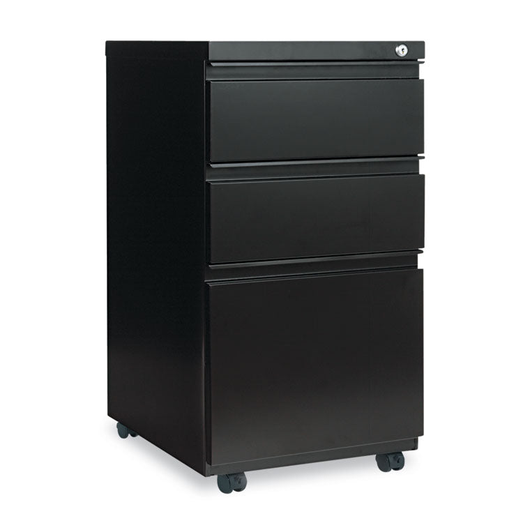 Three-Drawer Metal Pedestal File With Full-Length Pull, 14 7/8w X 19 1/8d, Black