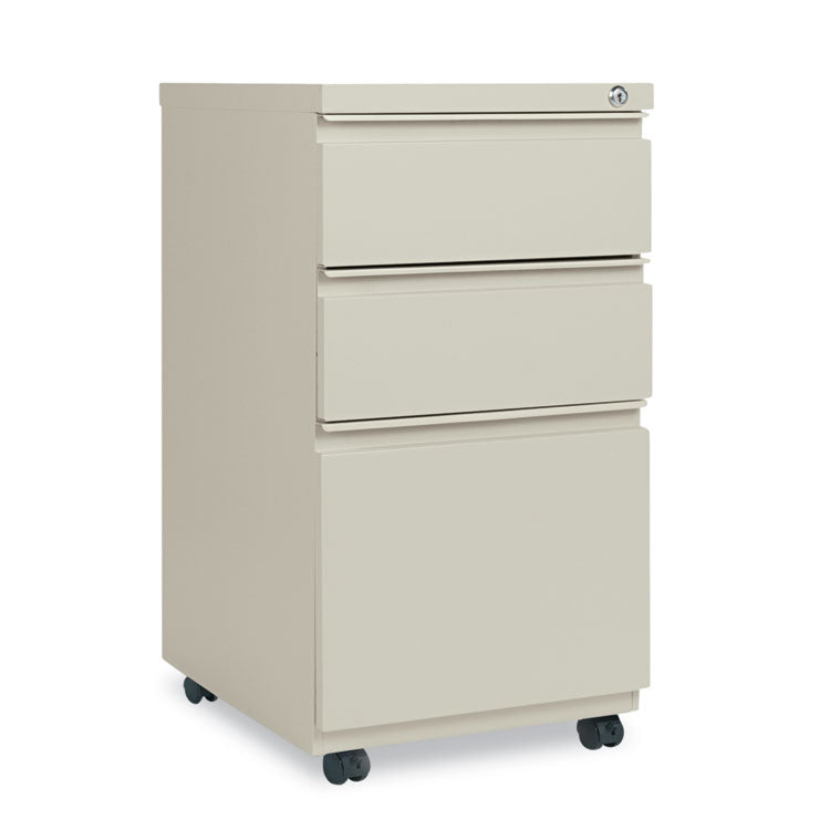 Three-Drawer Metal Pedestal File With Full-Length Pull, 14 7/8w X 19 1/8d, Putty