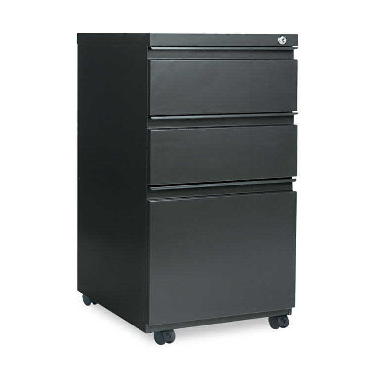 Three-Drawer Metal Pedestal File W/full-Length Pull, 14 7/8 X 19 1/8, Charcoal