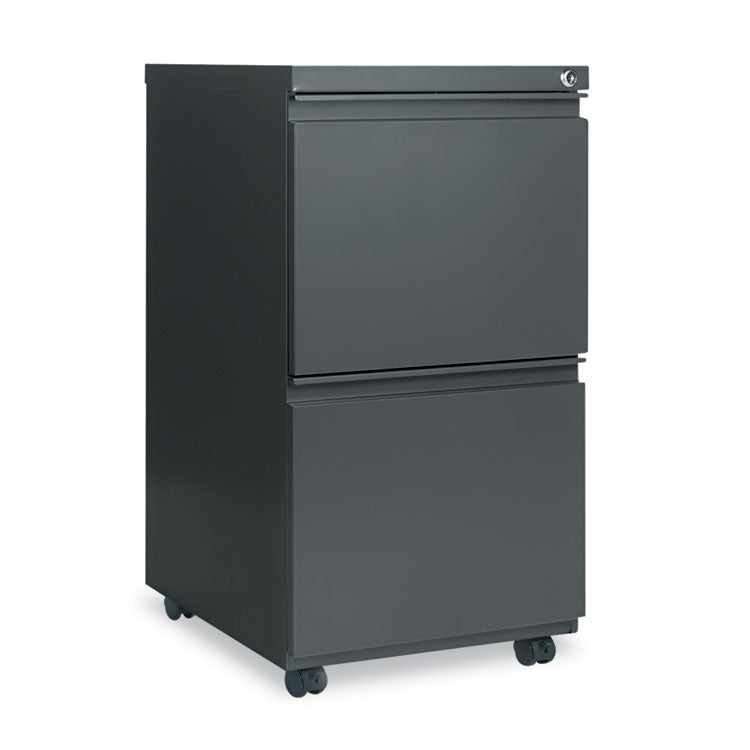 Two-Drawer Metal Pedestal File W/full-Length Pull, 14 7/8w X 19 1/8d, Charcoal