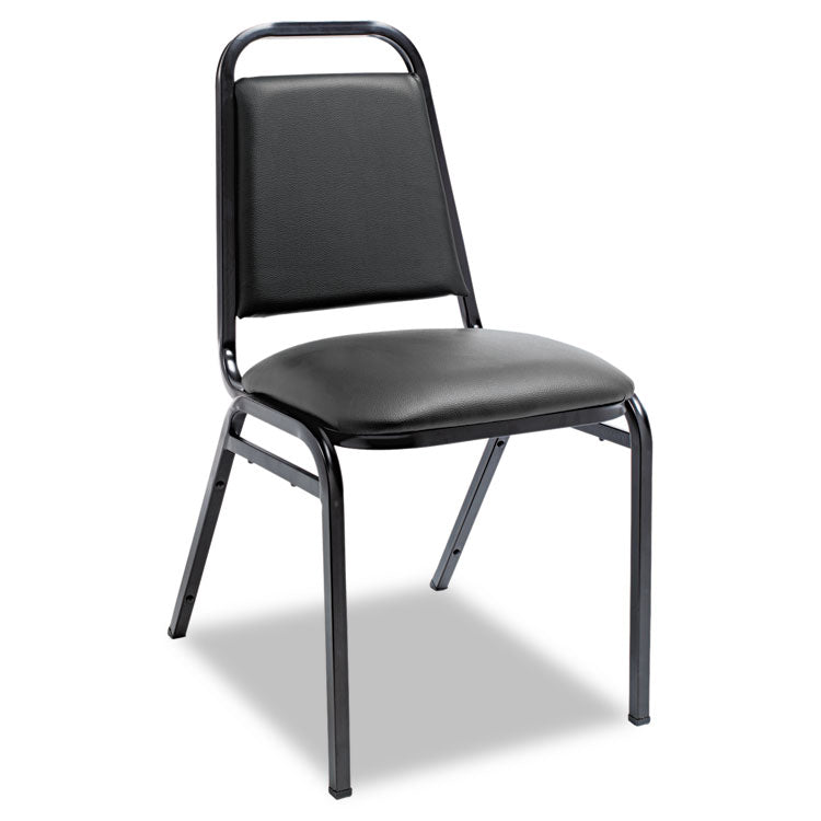 Padded Steel Stack Chair W/square Back, Black Vinyl, Black Frame, 4/carton