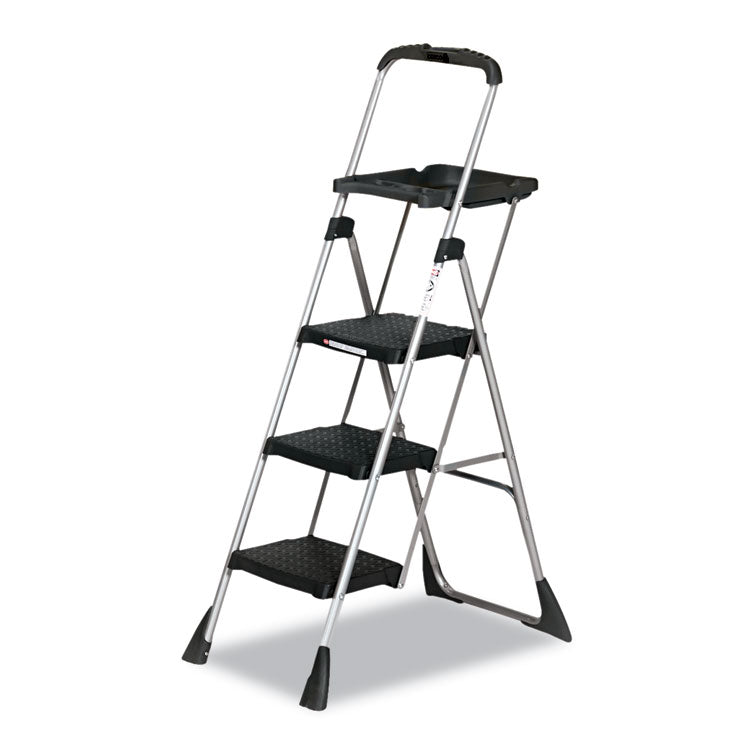 Max Work Steel Platform Ladder, 22w X 31d X 55h, 3-Step, Black