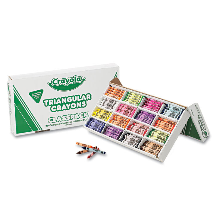 Classpack Triangular Crayons, 16 Colors, 256/bx