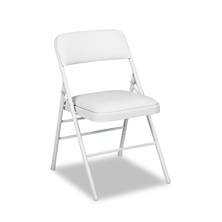Deluxe Vinyl Padded Seat & Back Folding Chairs, Light Gray, 4/carton
