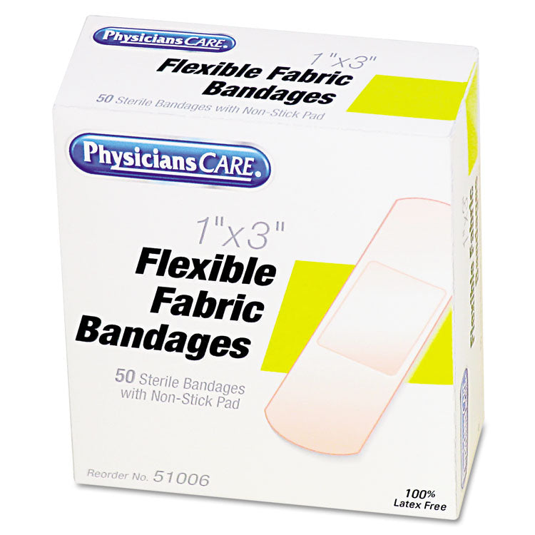"First Aid Fabric Bandages, 1"" X 3"", 50/box"