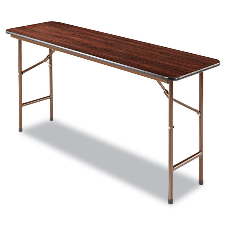Wood Folding Table, Rectangular, 60w X 18d X 29h, Walnut