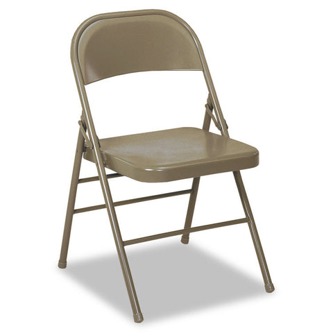 60-810 Series All Steel Folding Chairs, Taupe, 4/carton
