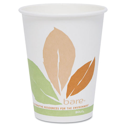 Bare By Solo Eco-Forward Pla Paper Hot Cups, Leaf Design, 10oz, 300/carton