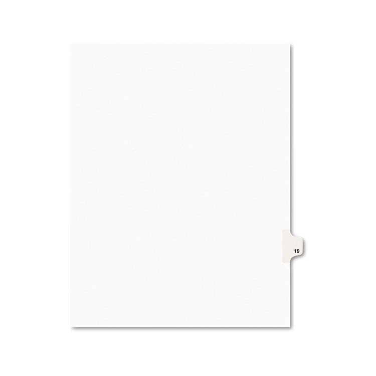 Avery-Style Legal Exhibit Side Tab Divider, Title: 19, Letter, White, 25/pack