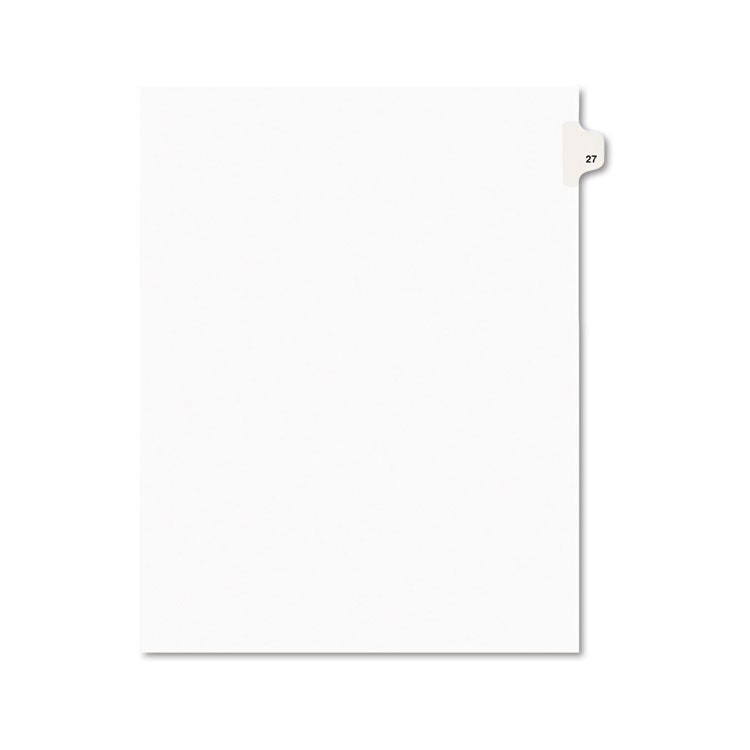 Avery-Style Legal Exhibit Side Tab Divider, Title: 27, Letter, White, 25/pack