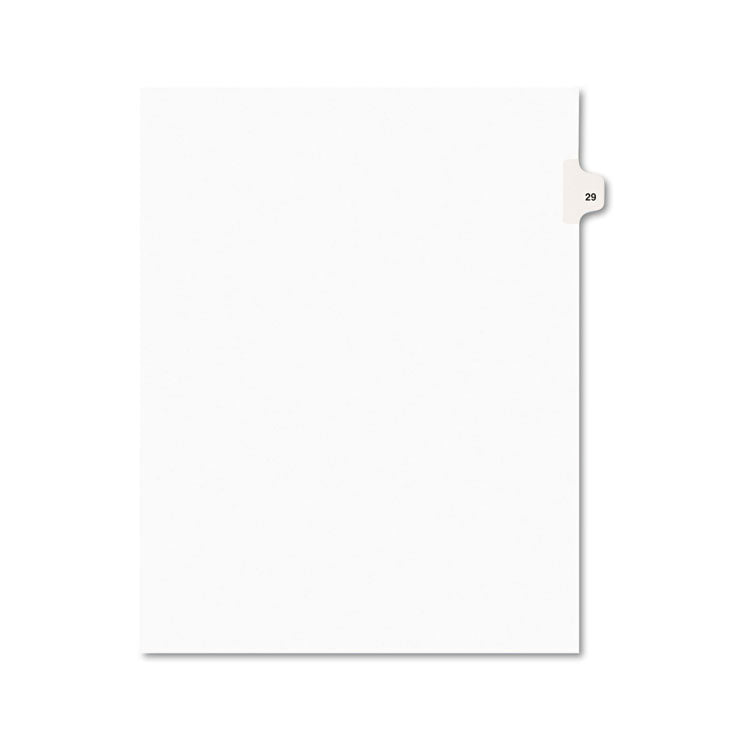 Avery-Style Legal Exhibit Side Tab Divider, Title: 29, Letter, White, 25/pack