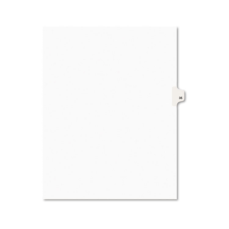 Avery-Style Legal Exhibit Side Tab Divider, Title: 35, Letter, White, 25/pack