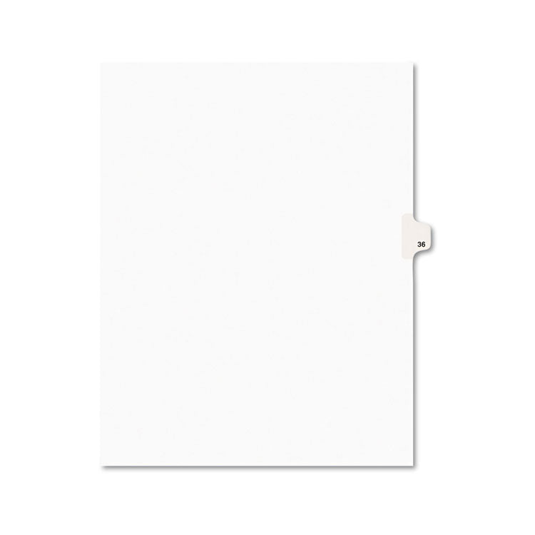 Avery-Style Legal Exhibit Side Tab Divider, Title: 36, Letter, White, 25/pack