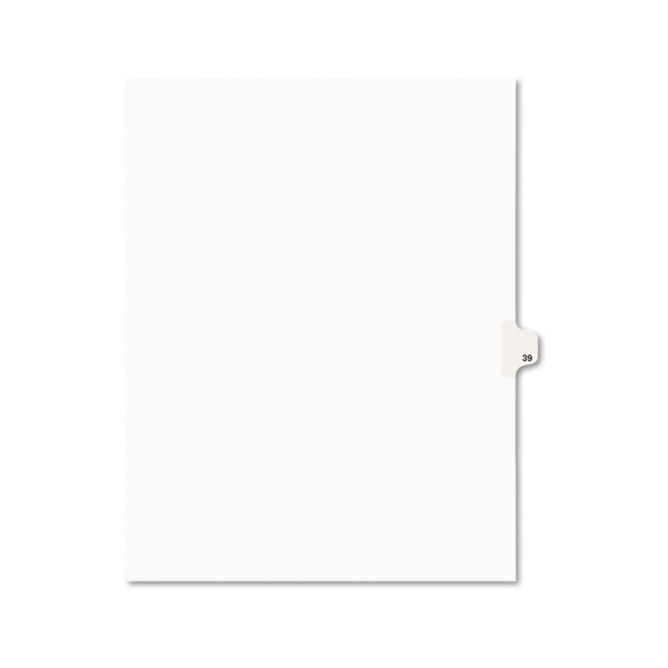 Avery-Style Legal Exhibit Side Tab Divider, Title: 39, Letter, White, 25/pack