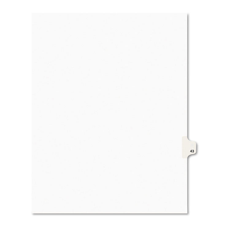 Avery-Style Legal Exhibit Side Tab Divider, Title: 43, Letter, White, 25/pack
